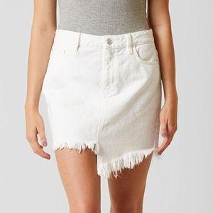GUESS Stella Cotton Asymmetrical Denim Skirt White